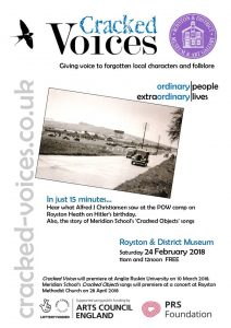 Cracked Voices pop-up talks at Royston & District Museum tomorrow!